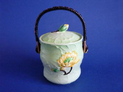Very Rare Carlton Ware Green Water Lily Biscuit Barrel c1939